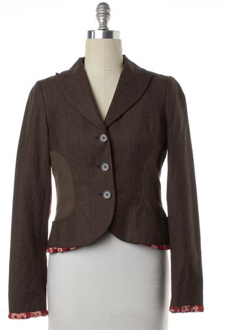 KENZO Brown Contrast Inset Floral Trim Wool Blazer