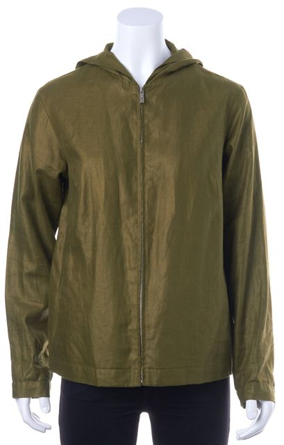 KENZO Olive Green Zip Front Linen Basic Casual Light Weight Hooded Jacket