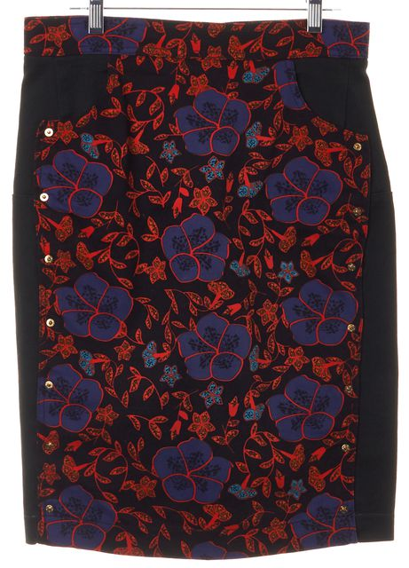 KENZO Green Black Purple Orange Floral Printed Denim Pencil Skirt