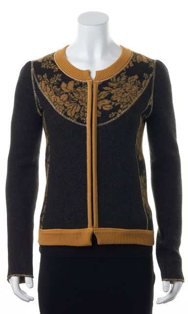 KENZO Black Yellow Gold Floral Intarsia Knit Wool Sweater Jacket