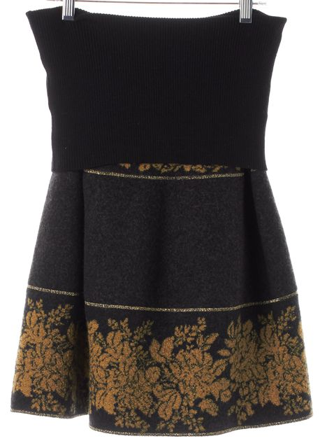 KENZO Gray Yellow Abstract Wool Knee-Length Stretch Knit Skirt