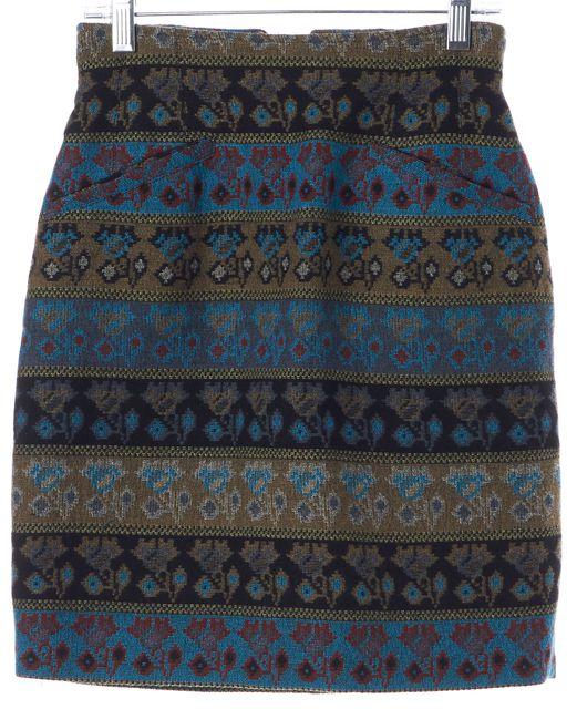 KENZO Blue Brown Red Tapestry Floral Wool Pencil Skirt