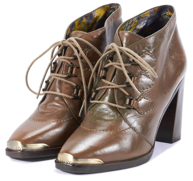 KENZO Brown Leather Lace-Up Stacked Block Heel Ankle Boots