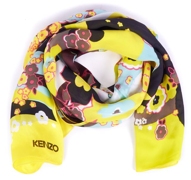 KENZO Bright Yellow Multi-color Floral Silk Scarf