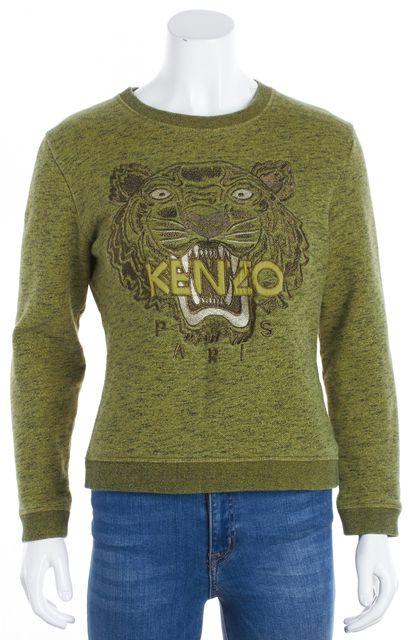 KENZO Green Crewneck Tiger Embroidered Sweatshirt