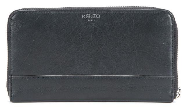KENZO Black Leather Silver-Tone Zip Around Hardware Wallet
