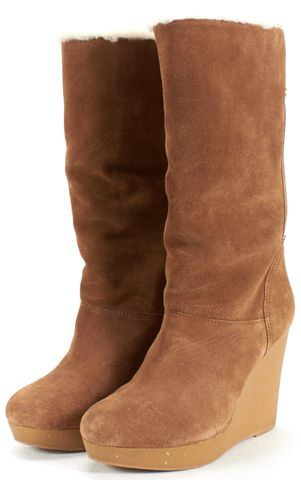 KORS MICHAEL KORS Brown Leather Shearling Lined Mid-Calf Wedge Boots