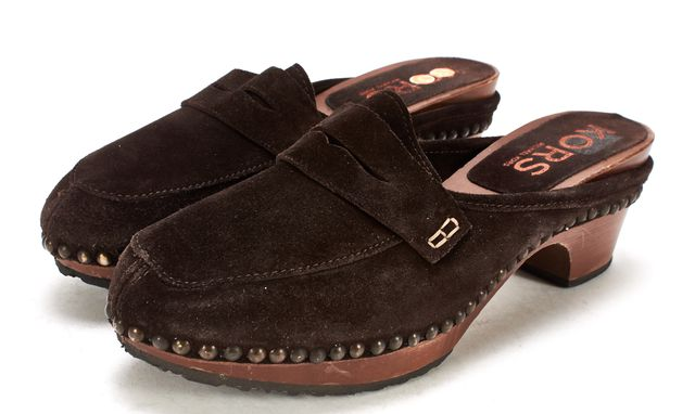 KORS MICHAEL KORS Brown Suede Slide On Clogs