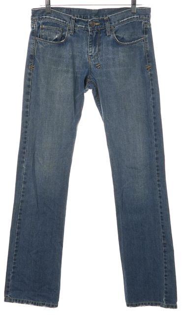 KSUBI Blue Distressed Denim Slim Straight Leg Jeans
