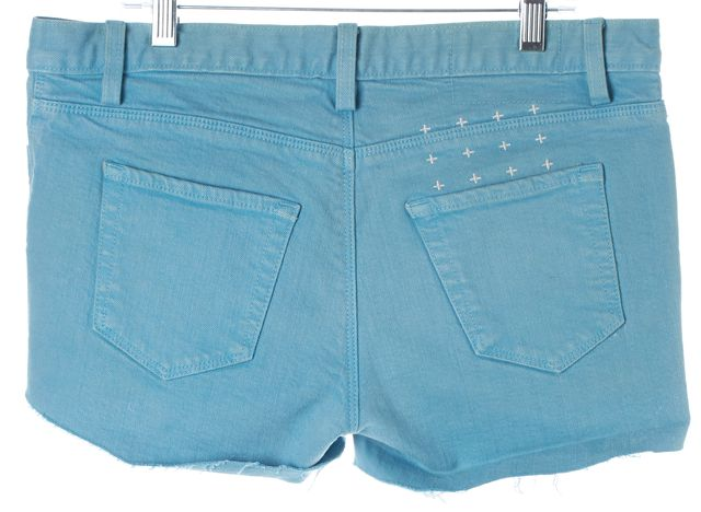 KSUBI Azure Blue Super Skinny Zip Distressed Hem Denim Shorts