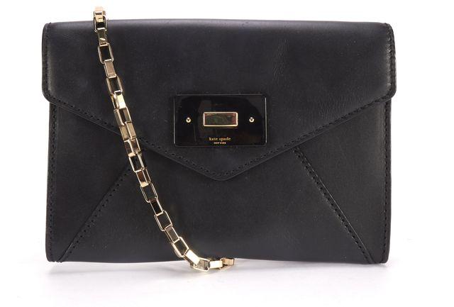 KATE SPADE Black Leather Envelope Gold Chain Strap Crossbody Bag