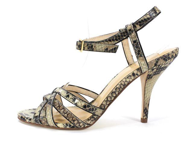 KATE SPADE Beige Black Snake Embossed Leather Heeled Sandals