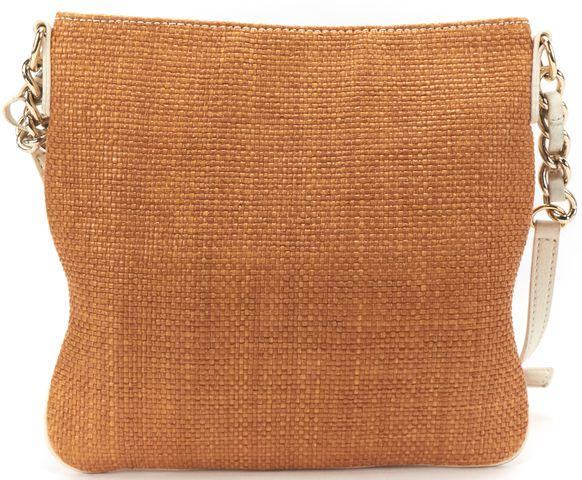 KATE SPADE Brown Raffia White Leather Crossbody Bag