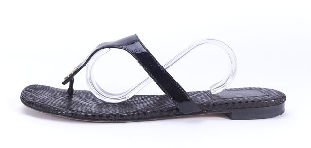 KATE SPADE Black Patent Leather Snake Embossed Thong Sandals