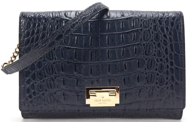 KATE SPADE Navy Croc Embossed Leather Corssbody Bag