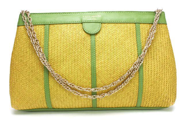 KATE SPADE Green Leather Raffia Chain Strap Shoulder Bag