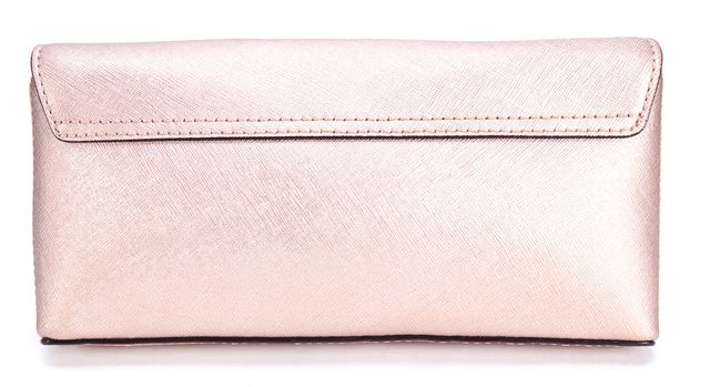 KATE SPADE Metallic Pink Saffiano Leather Turn Lock Wallet Clutch