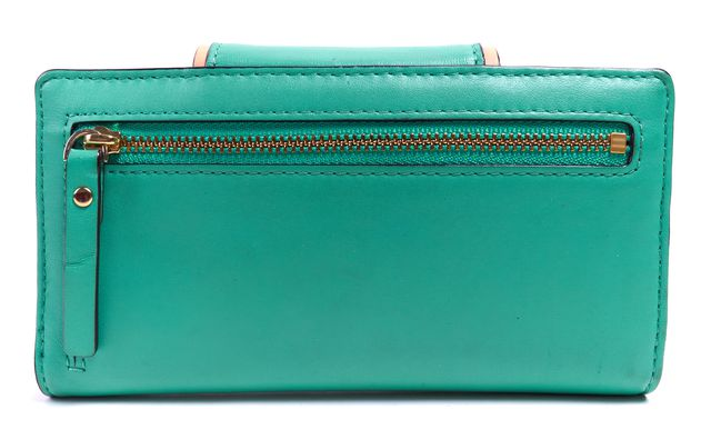 KATE SPADE Green Blue Beige Leather Continental Wallet