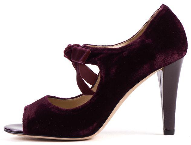 KATE SPADE Burgundy Velvet Open Toe Heels