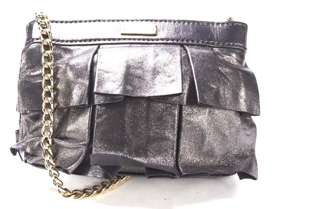 KATE SPADE Authentic Silver Metallic Leather Chain Strap Crossbody Bag