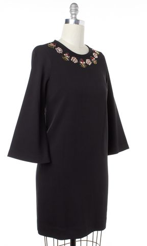 KATE SPADE Black Embellished Beaded Shift Dress