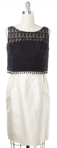 KATE SPADE Black Ivory Colorblock Bead Trim Sheath Dress Size 6