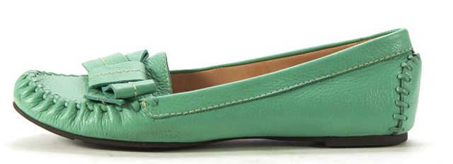 KATE SPADE Green Pebbled Leather Moccasin Flats