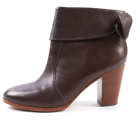KATE SPADE Brown Pebbled Leather Round-toe Lanise Ankle Booties Size 8.5