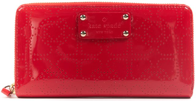 KATE SPADE Red Patent Leather Perforated Zip Around Continental Wallet