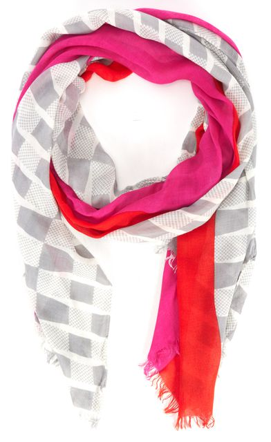 KATE SPADE Orange Pink Polka Dot Colorblock Long Fringe Scarf