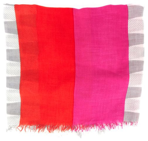 KATE SPADE Orange Pink Polka Dot Colorblock Long Fringe Scarf