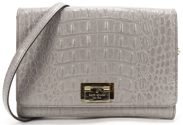 KATE SPADE Gray Leather Crocodile Embossed Crossbody Bag
