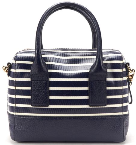 KATE SPADE Navy Blue Ivory Coated Canvas Leather Top Handle Satchel Bag