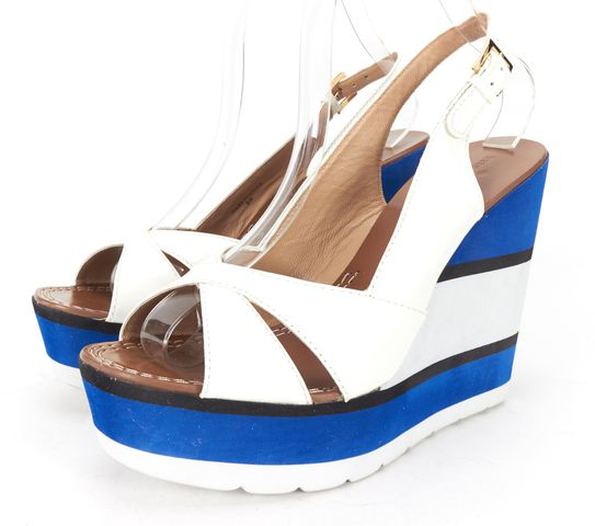 KATE SPADE Blue White Patent Leather Sling Back Wedges Size 9