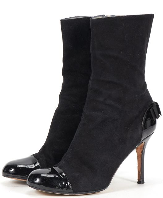 KATE SPADE Black Suede Patent Leather Cap-toe Bow Heel Ankle Boots