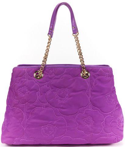 KATE SPADE Authentic Purple Floral Stitch Nylon Leather Trim Shoulder Bag
