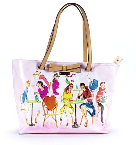 KATE SPADE Pink Multi Print Coated Canvas Tote Bag