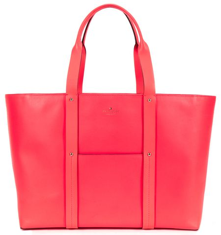 KATE SPADE Authentic Neon Pink Leather Large Tote Shoulder Bag