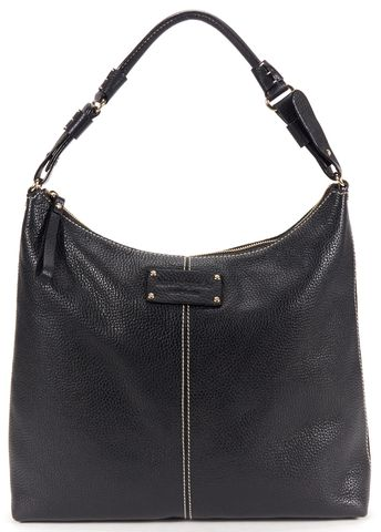 KATE SPADE Authentic Black White Stitch Pebbled Leather Zip Top Hobo Bag