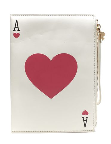 KATE SPADE White Red Leather Place Your Bets Ace of Hearts Clutch
