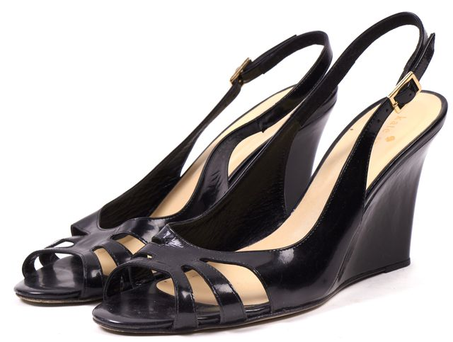 KATE SPADE Black Leather Slingback Wedges Heels