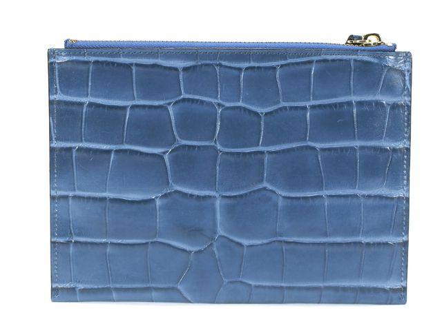 KATE SPADE Deep Blue Croc Leather Embossed Clutch