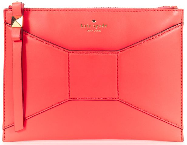 KATE SPADE Bright Pink Bow Detail Leather Clutch Wristlet