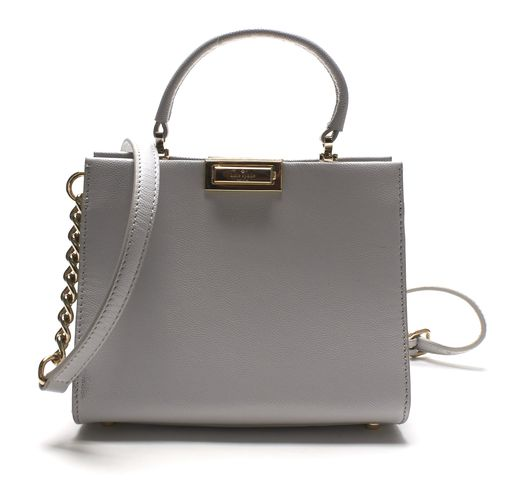 KATE SPADE Authentic Gray Leather Gold Chain Small Handbag