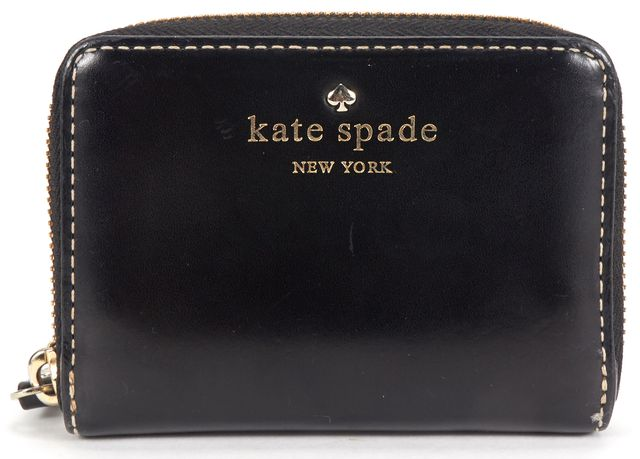 KATE SPADE Black Leather Zip Around Accordion Card Holder Wallet