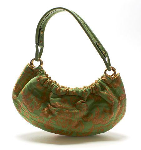 KATE SPADE Authentic Green Gold Floral Print Shoulder Bag
