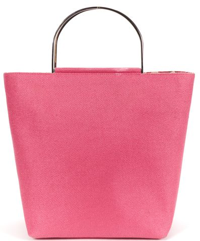 KATE SPADE Authentic Palm Beach Pink Linen Silver Metal Top Handle Tote Bag