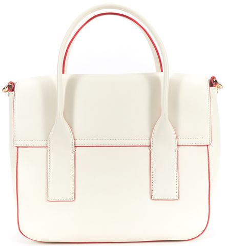 KATE SPADE Authentic White Leather Silver Tone Hardware Top Handle Shoulder Bag