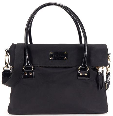 KATE SPADE Authentic Black Nylon Patent Leather Tote Shoulder Bag