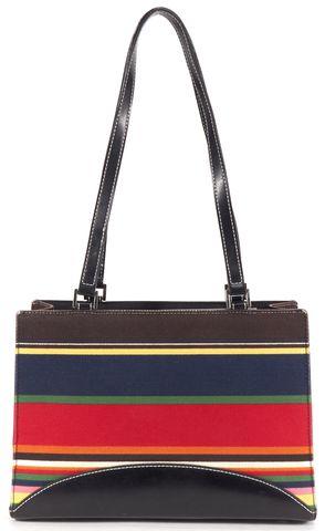 KATE SPADE Black Multi Color Canvas Leather Shoulder Handbag